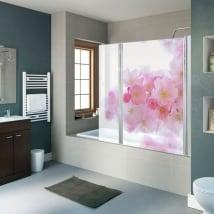 Vinilos mamparas de baños flor de cerezo japonés