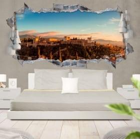 Vinilos decorativos 3d panorámica la alhambra granada