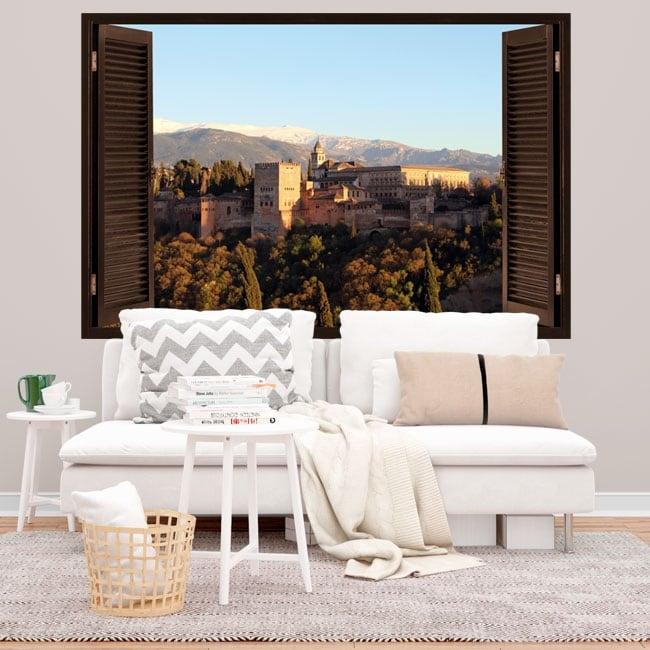 Vinilos y pegatinas 3d ventana con vistas a la alhambra