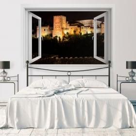 Vinilos ventanas con vistas de noche a la alhambra 3d