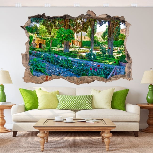 Vinilos 3d jardín la alhambra granada españa