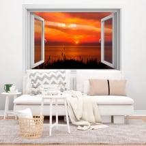 Vinilos decorativos ventanas puesta de sol 3d