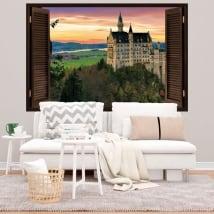 Vinilos y pegatinas 3d ventana castillo de neuschwanstein