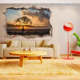 Pegatinas de vinilos 3d árbol y puesta de sol