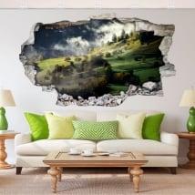 Vinilos de pared niebla montañas en otoño 3d