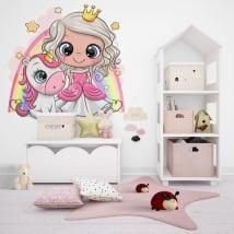Vinilos infantiles o juveniles princesa y unicornio