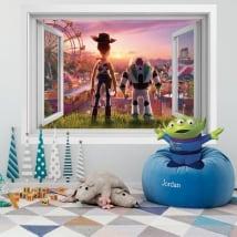 Vinilos paredes 3d ventana toy story 4
