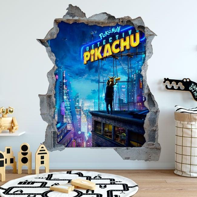Vinilos decorativos 3d pokémon detective pikachu
