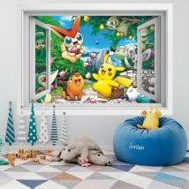 Vinilos paredes 3d ventana pikachu