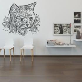 Pegatinas de vinilos cabeza de gato tribal