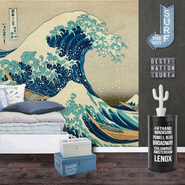 Fotomurales de vinilos tsunami o la gran ola