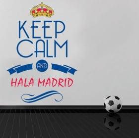 Vinilo decorativo fútbol keep calm and hala madrid