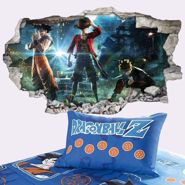 Vinilos paredes goku naruto y luffy jump force 3d