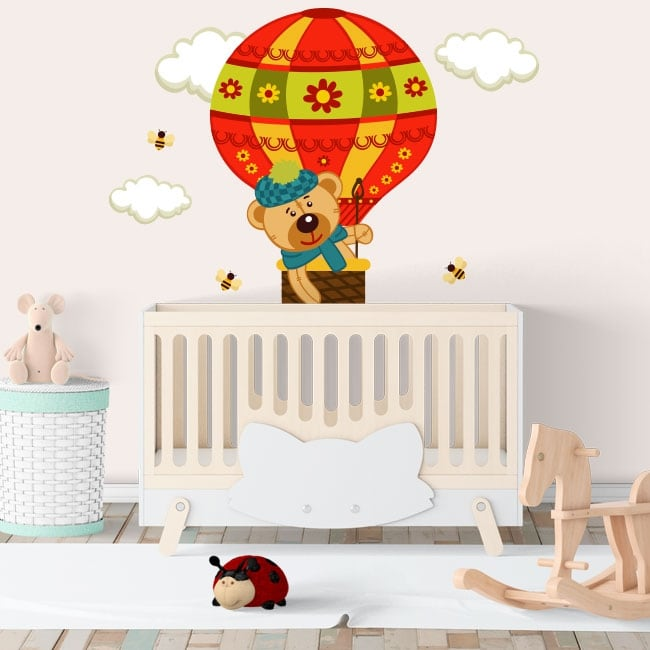 Vinilos y pegatinas infantiles el vuelo del oso en globo