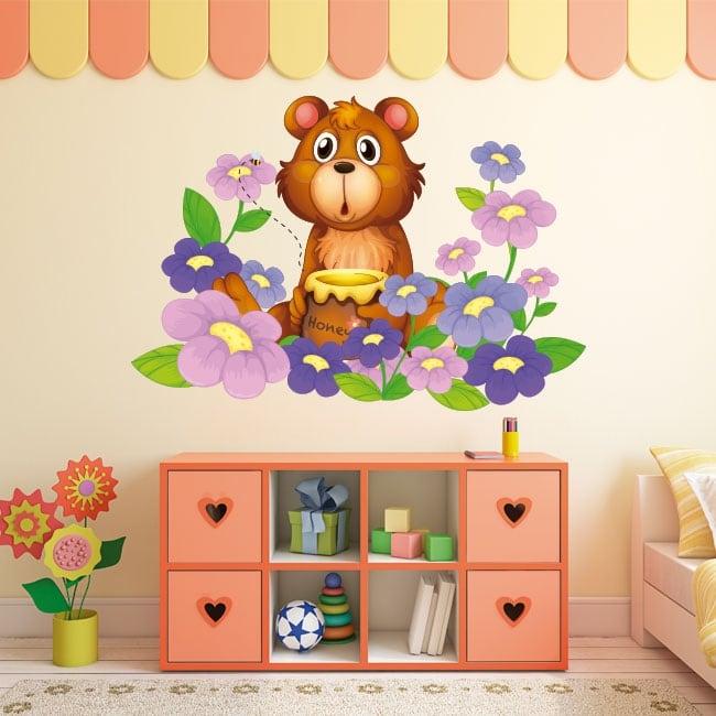 Pegatinas de vinilos infantiles oso y flores