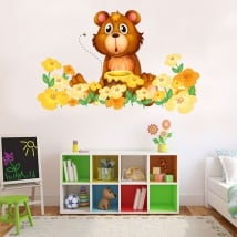 Vinilos infantiles o juveniles oso y flores