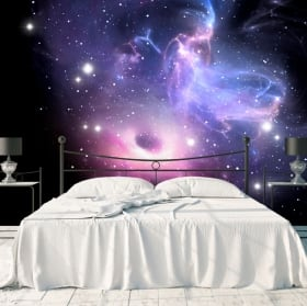Fotomurales agujero negro y nebulosa con estrellas