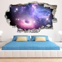 Pegatinas 3d agujero negro y nebulosa con estrellas