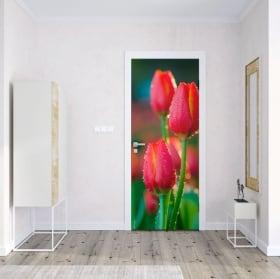 Vinilos y pegatinas para puertas flores tulipanes