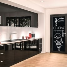 Vinilos para puertas de cocinas en varios idiomas