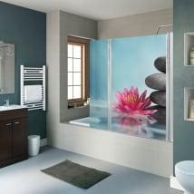 Vinilos mamparas baños flor de loto y piedras zen