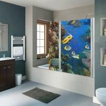 Vinilos mamparas baños peces y arrecife de coral