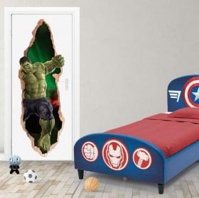 Vinilos marvel puertas 3d hulk