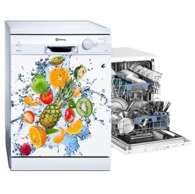 Vinilos lavaplatos frutas y salpicaduras de agua