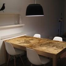 Vinilos para mesas y muebles mapamundi