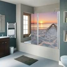 Vinilos decorativos mamparas baños playa al atardecer
