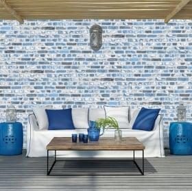 Fotomurales de vinilos con ladrillos azules