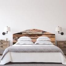 Vinilos cabeceros camas textura de madera rústica