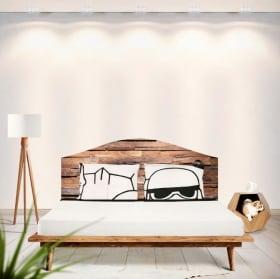Vinilos cabeceros camas madera rústica