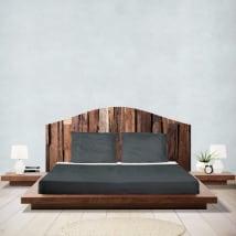 Vinilos adhesivos cabeceros camas madera rústica