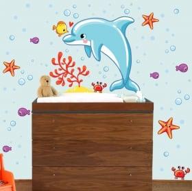 Vinilos infantiles de bebé mundo marino
