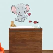 Vinilos infantiles o de bebé elefante y mariquitas