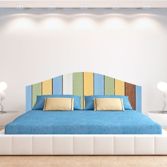 Vinilos cabeceros cama tablas de madera de colores