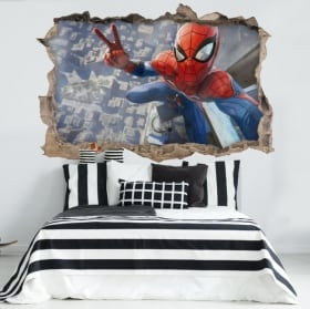 Vinilos decorativos 3d spiderman selfie