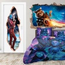 Vinilos puertas 3d nebula guardianes de la galaxia