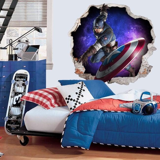 Vinilos 3d marvel capitán américa