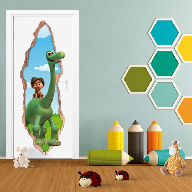 Vinilos infantiles puertas 3d disney el viaje de arlo
