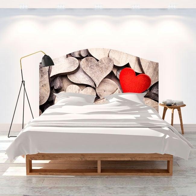 Vinilos cabeceros camas corazones de madera