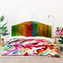 Vinilos cabeceros camas corazón madera colores