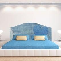 Vinilos corazón jeans para cabeceros de camas
