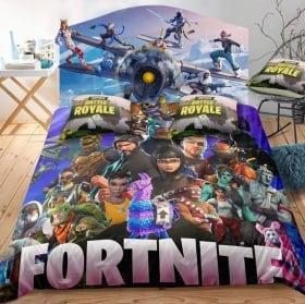 Vinilos videojuegos fortnite cabecero de camas
