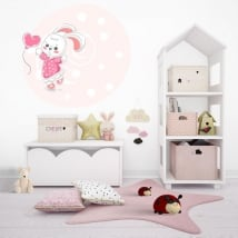 Vinilos infantiles o juveniles conejo con globo de corazón