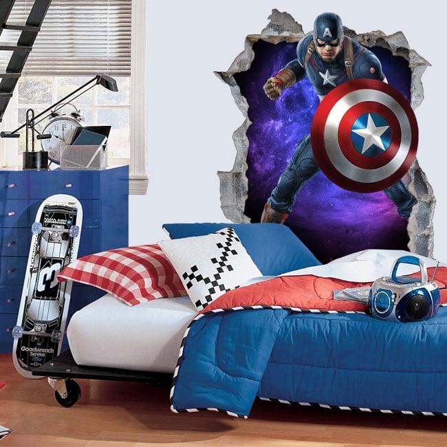 Vinilos decorativos 3d marvel capitán américa