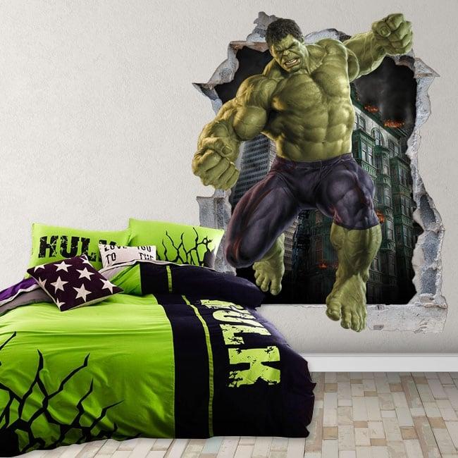 Vinilos decorativos 3d marvel superhéroe hulk