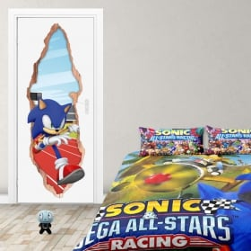 Vinilos puertas 3d videojuego sonic