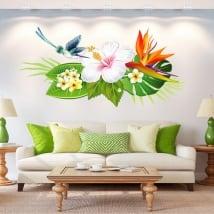 Vinilos para paredes flores y colibrí o picaflor